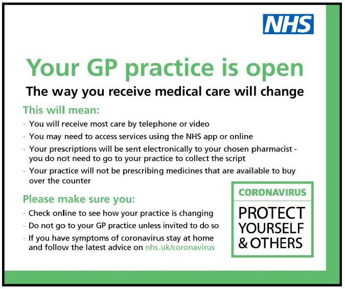 Your GP is open but the way you receive medical care will change. Click to read more.